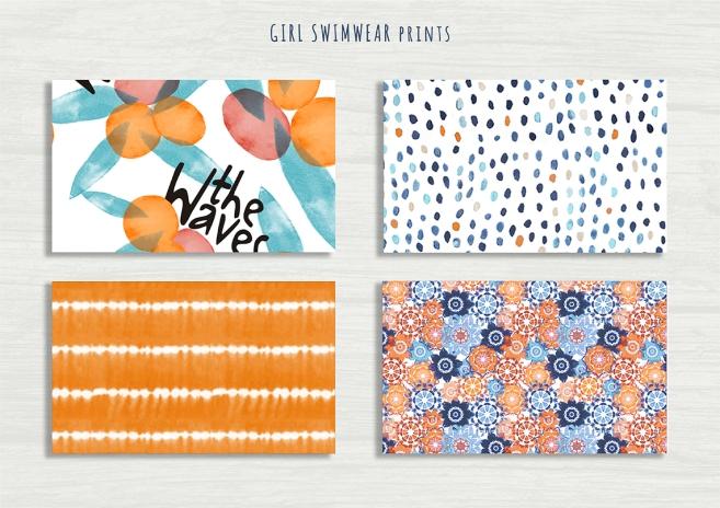 10 GIRL SWIMWEAR BLEU AND ORANGE prints